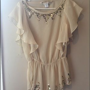 Gold sequin sexy flirty sheer party top sz small
